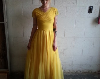 1950s STUNNING Yellow party dress! XS/S