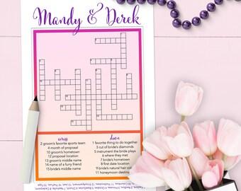 Chic Custom Crosswords Wedding Game - Printable Or Printed [#220]