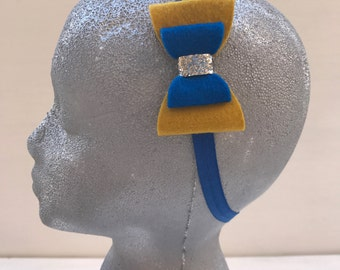 Mustard and royal blue bow headband~Headband~Prop~Photo prop~Photography prop~Bow~Wool felt bow~Toddler~Girl~Gift~Baby girl