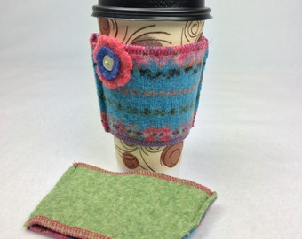 Cuppa Cozies ~ Felted Wool Cup Cozy.  Fair Isle Teal Pink Orange Green Front, Solid Green Back.  1 Cuppa Cozy