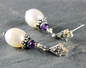 White Pearls Earrings, Sterling Silver, marcasite stud earrings, Amethyst earrings, holiday gift for her,June birthstone February birthstone