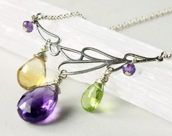 Multi Gemstone Necklace, Amethyst Citrine Peridot, sterling silver wire wrap, green yellow purple, delicate, bohemian, gift for her, 3867