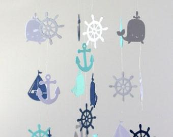 Rustic Burlap Nautical Nursery Mobile in Navy, Aqua, Gray & White-Baby Mobile, Baby Shower Gift