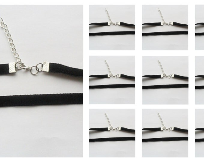 Sale item 10 Velvet choker necklaces bulk discounted Lot of 10,(pick your size) Black Ribbon Choker Necklaces