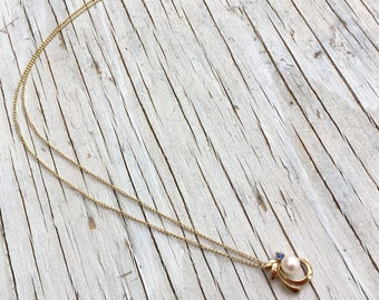Vintage pearl and sapphire necklace, unusual design, 9k gold.