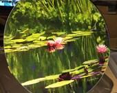 Round Glass Cutting Board Large - Pondscape - 12 in diameter
