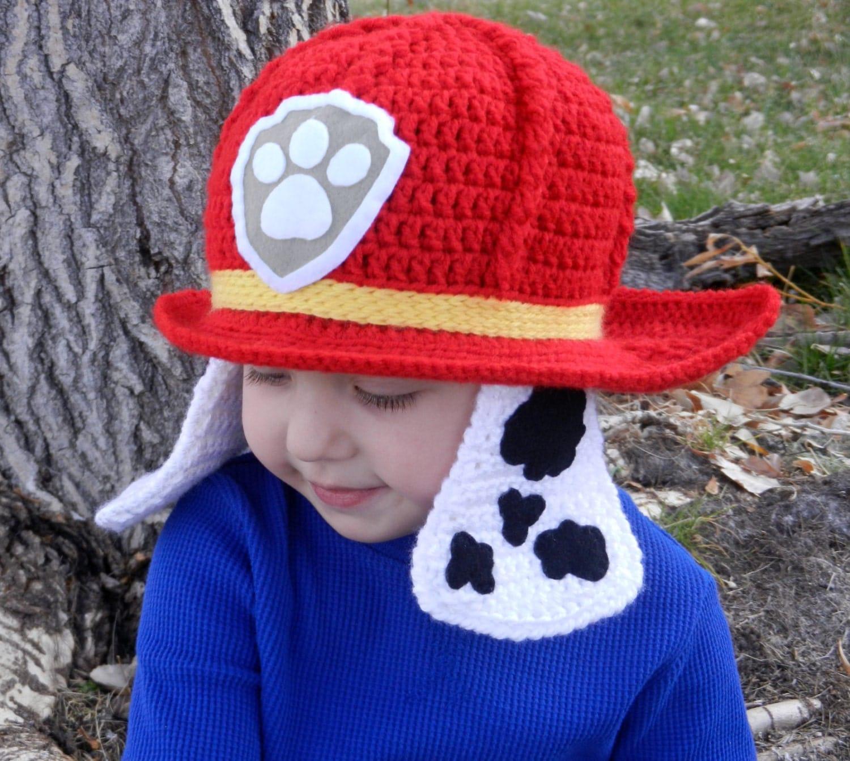 Crochet Hat Pattern Paw Patrol : Paw Patrol Marshall Crochet Hat Pattern