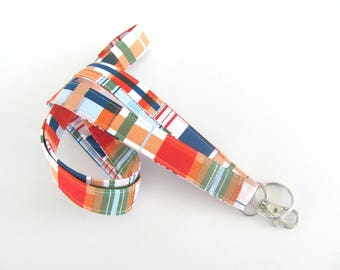 Fabric Lanyard, Sailor's Nautical Lanyard, ID Badge Holder Summer Keychain Beach Accessory, Plaid Tartan Lanyard