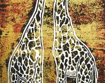 "Jody's original linocut print on mulberry paper: Nose to Nose-Copper giraffes, unmatted, unframed, 7"" x 13""."