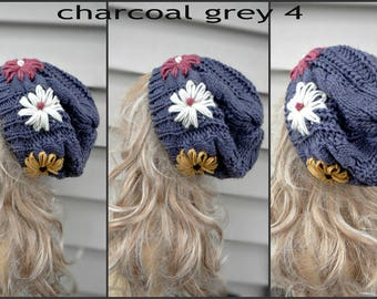 Slouchy Beanie with hand embroidered flowers, Gray Slouch Hat, Slouchy Beanie with Flowers