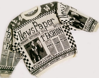 Vintage 60's Graphic Newspaper Unisex Sweater - Small