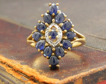 Sapphire Engagement Ring Sapphire And Diamond Ring Set In 9ct Gold 2.6ct Blue Sapphire Size 7
