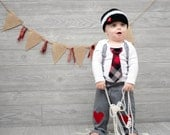 Baby Boy Valentine's Day Tie and Suspenders Bodysuit with Heart Applique,  Heart Leg Warmers, Heart Button Hat, Heart Knee Pants. Grey & Red