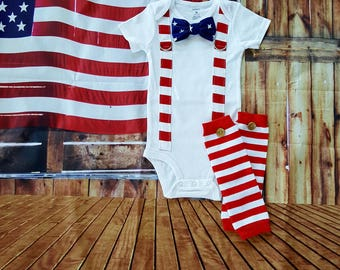 Fourth of July Baby Boy Tie and Suspender Bodysuit, Button Leg Warmers, Independence day,  Summer, Patriotic, Red, White, Blue, stars, 4th