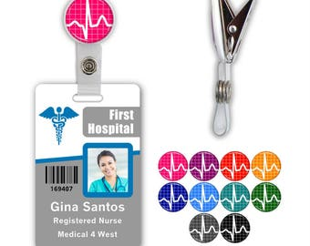 EKG Badge ID Name Tag Clip - Available in 10 colors