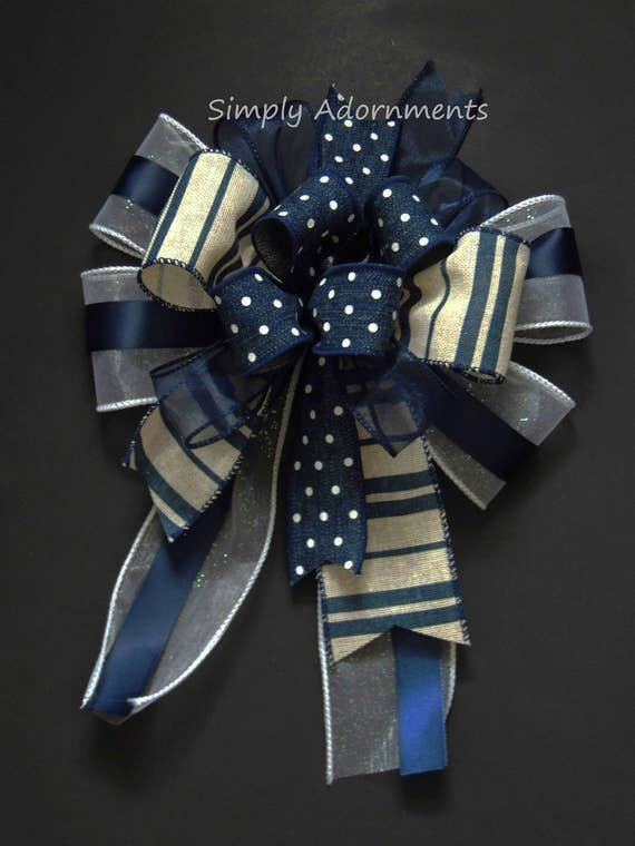 Navy Wired Ribbon Wreath Bow Navy and White Swag Bow Funky Navy Lantern bow Denim Navy Birthday Party decor Navy Dots and Stripes Gift Bow