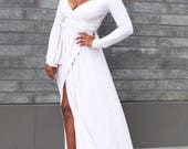 THE ANYA Classic Wrap Dress in Cream and White
