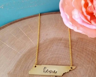 Tennessee necklace, home necklace, Gold Tennessee jewelry, TN necklace, TN jewelry, Tennessee state necklace, Nashville necklace,