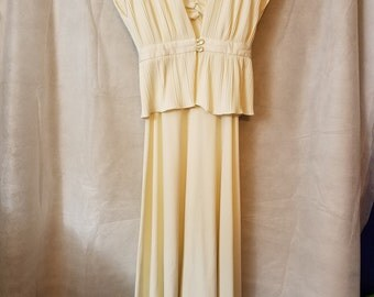 S M Vintage 70s Off-White Cream Spaghetti Strap Sexy Disco Ribbed Wedding Bridal Capelet Maxi Hippie Sexy Summer Spring Dress Sundress