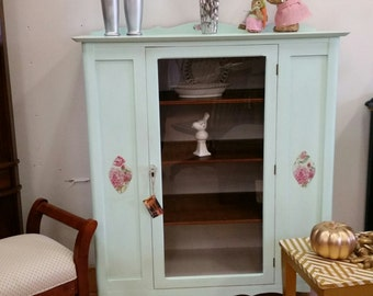 Antique China Cabinet, Chalk Painted China Cabinet, Shabby Chic China Cabinet, Vintage China Cabinet, Painted Furniture