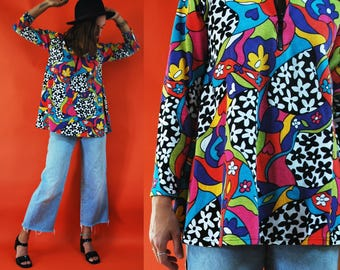 1980s Psychedelic Floral Print Tent Blouse