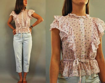 1970s Pale Pink Ruffle Striped Floral Blouse