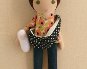 Fabric Doll Rag Doll Brown Haired Girl in Coral Floral Top and Jeans with Baby Sling and Baby