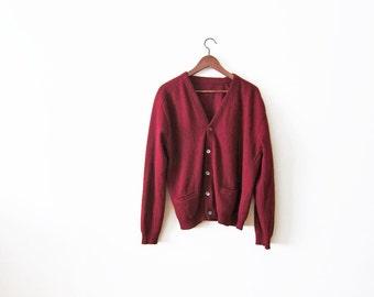Grunge Cardigan / Grandpa Cardigan / 60s Cardigan / Red Wool Cardigan Sweater Small Medium