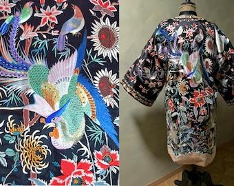 Rare Chinese Export Fine Bird Robe 1920s-30s Black Silk Ground w/ Exotic Birds, Butterflies, Fish, Flowers, Forbidden Stitch - Wedding