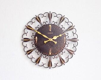 Vintage German wall clock GDR brass starburst sunburst Mid Century