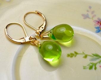 Light Green Earrings, Glass Teardrop Earrings, Peridot Earrings, Green & Gold Jewelry, Gold Leverback Earrings, Small Drop Earrings, Gift