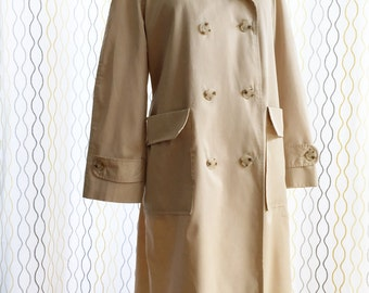 Vintage 60 Lord & Taylor beige trench coat/ oversized pockets/ fall raincoat