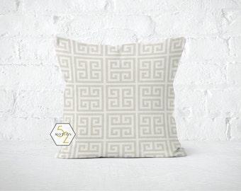 Cream Greek Key Pillow Cover - Towers - 22, 24, 26 and More Sizes - Zipper Closure- ec246
