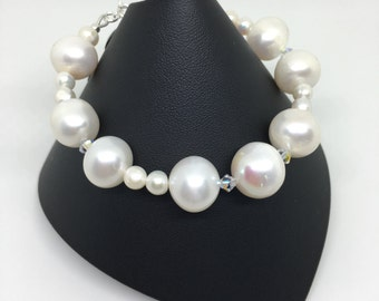 Pearl and Swarovski Bracelet, Bridal Bracelet, White Freshwater Pearls and Swarovski Crystal Bracelet, 925 Sterling Silver, June Birthstone