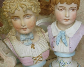 Pair Antique Bust Statue Victorian Girl Boy Bavarian Royal Rudolstadt Signed Numbered Vintage Handpainted Bisque Porcelain