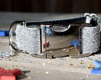 Silver Sparkly July 4th Dog Collar, Unisex Fourth of July Dog Collar, Independence Day Dog Collar, July 4th, Adjustable with Metal Hardware