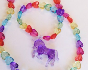 Purple Unicorn Necklace with Rainbow Translucent Hearts