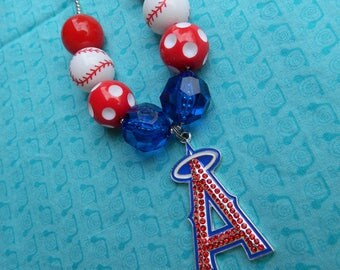 "Play Ball Red and Blue Baseball 24"" Chunky Ball Bead Necklace *Ready to Ship"