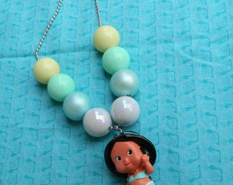 "Pocahontas 24"" Ball Chain Bubblegum Bead Chunky Necklace - Photo Prop- *Ready to ship*"