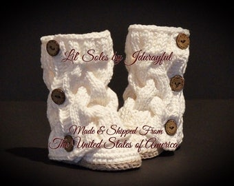 Crochet Baby Shoes, Knit Baby Shoes, Baby Shower Gift, Knit Baby Boots, Off White Baby Shoes, Baby Girl Shoes, Baby Girl Booties, White/Tan