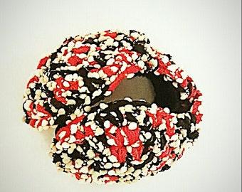 Red black ear warmer, Pom pom cheerleaders ear muffs Cosy Earmuffs - handmade Women ear warmer, winter accessories, Motherntines day gift