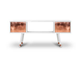 TV Table Krafla High Gloss. Midcentury Modern TV Stand. Copper Furniture. Handmade furniture. White Furniture
