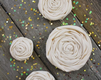Ivory Fabric Flowers // Handmade Fabric Roses