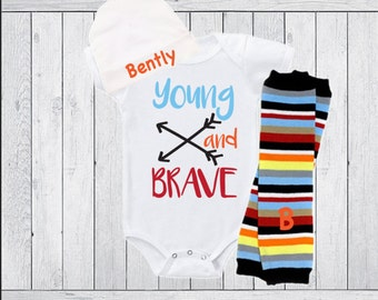 Baby Boy Gift Clothing Outfit Bodysuit or Gown Leg Warmers Personalized Hat Option Young and Brave Arrows Hip Baby Boy Gift Baby Shower Gift