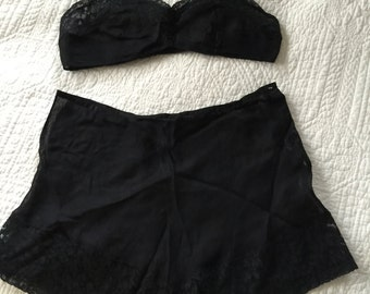 30s Black Sheer Bralette and Tap Pant Set