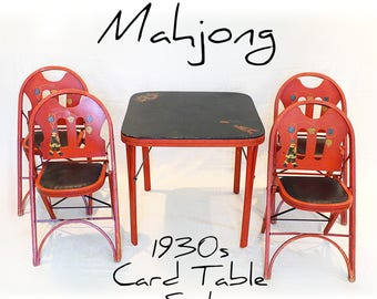 Antique Card Table and Chairs - Mahjong  Game Table - Rastetter Solid Kumfort - Folding Wood Table and Chair Set - Chinese Red - 1930s