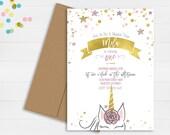 Unicorn Birthday Invitation // First Birthday Invitation // Magical Birthday Invitation // Stars Birthday Party Invitation