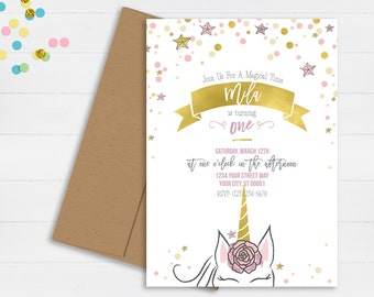 Unicorn Birthday Invitation // First Birthday Invitation // Magical Birthday Invitation // Stars Birthday Party Invitation