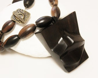 Big Bold African Ebony Wood Mask Necklace, Tribal Jewelry, Ethnic Jewelry