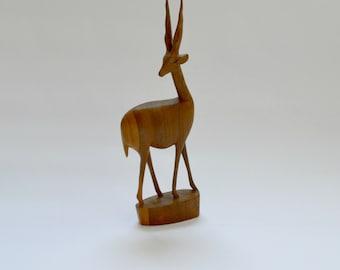 Vintage Mid-Century Teak Deer Antelope Figurine